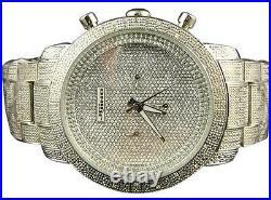 JOJINO Real Diamond Watch Chronograph Mens Silver Case Black Rubber Band MJ-1000