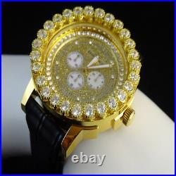 Khronos Mens Yellow Gold Finish Real Diamond Joe Rodeo Cluster Bezel Iced Watch