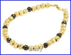 Ladies 14K Yellow Gold Real Black Diamond Beaded Mooncut Bracelet 8 CT 5mm 7