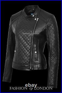 Ladies DIAMOND Black Quilted Designer Biker Style Real Lambskin Leather Jacket