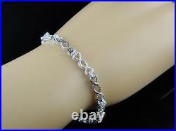 Ladies Womens White Gold Finish Genuine Black Diamond Infinity Bracelet 1/4 Ct