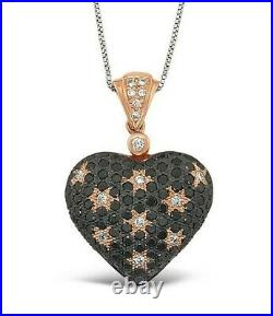 Le Vian GSS 14K Rose Gold Black & White Diamond Love Heart Star Pendant Necklace