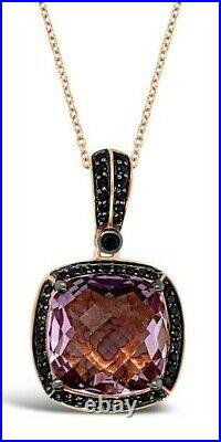 Le Vian Pendant Pink Amethyst Black Diamonds 14K Rose Gold