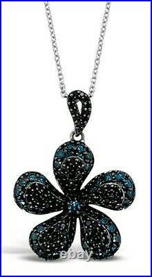 LeVian 14K White Gold Blue & Black Diamond Flower Floral Pavé Pendant Necklace