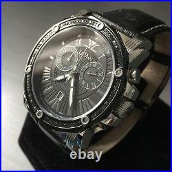 LeVian Swiss SoHo II Watch Black Diamonds 5/8ct ZAG 150 Chronograph Genuine