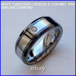 MEN'S 8MM TUNGSTEN CARBIDE & BLACK CERAMIC BAND RING GENUINE DIAMOND size 8-14