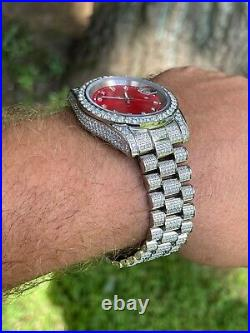 Men Red Dial Presidential Real SS 41mm Watch Fully Iced 12ct Flooded Out Diamond