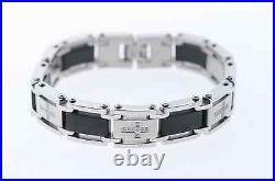 Men's 1/4 ctw Genuine Diamond Two-Tone Black Stainless Steel Cross Bracelet
