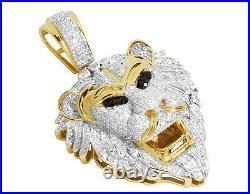 Men's 10K Yellow Gold Lion Face Black Genuine Diamond Charm Pendant 2.50ct 2.0