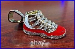 Men's 10k Yellow Gold Jumpman Jordan 23 Shoe 2.0 inch Real Diamond Pendant 1.2ct