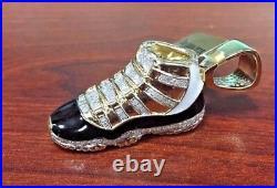 Men's 10k Yellow Gold Jumpman Jordan Black Shoe 2.0' Real Diamond Pendant 1.2ct