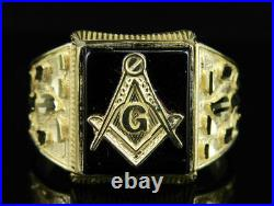 Men's Real 10K Yellow Gold Masonic Logo Black Oynex Nugget Style Designer Ring