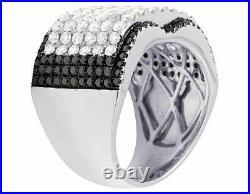 Men's Real 14K White Gold Genuine Diamond Black Iced Concave Ring 4 1/2 Ct 16MM