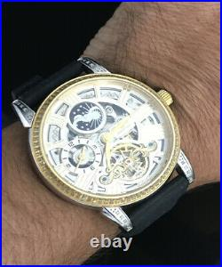 Men's Skeleton Automatic Self Wind Dual Time 1.5 ct Genuine Diamond Dress Watch