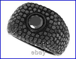 Men's Sterling Silver Black PVD Genuine Treated Black Diamond Band Ring 7.24CT