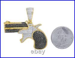 Mens 10K Yellow Gold Treated Black Real Diamond Revolver Pistol Gun Pendant 2CT