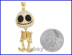 Mens 14K Yellow Gold Black Enamel Round Face Skeleton Real Diamond Pendant 1CT