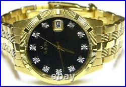 Mens Accutron Bulova 11 Real Diamonds Date Gold Plated Dress watch model # 97F44
