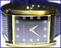 Mens Accutron Bulova 11 Real Diamonds Rectangle Tank Gold Plated Dress watch