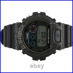 Mens Casio DW6900C-8DR G-Shock Black Grey Digital Real Diamond Watch Case 2.5 CT