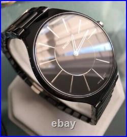 Mens Genuine Rado True Thinline Black Ceramic Watch R27741162 Swiss Ultra Slim