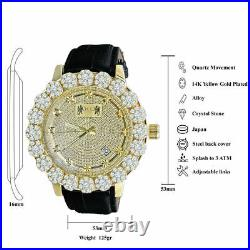 Mens Gold Finish Watch Leather Strap Real Diamond Khronos Analog Water Resistant