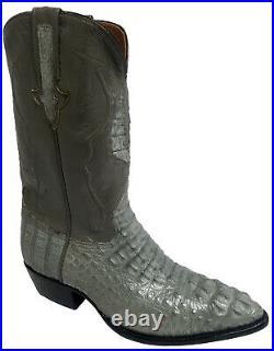 Mens Gray Crocodile Skin Cowboy Boots Hornback Genuine Leather J Toe Size 11
