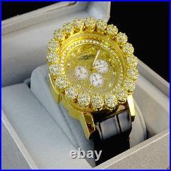 Mens Khronos Yellow Gold Finish Real Diamond Joe Rodeo Cluster Bezel Iced Watch