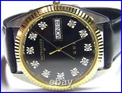 Mens Longines Wittnauer 11 Real Diamonds President Day Date Gold Plated SS watch