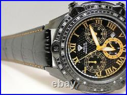 Mens New Aqua Master Jojo Joe Rodeo Techno Kc Real Diamond Watch Black Yellow