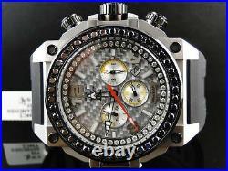 Mens New Techno Com KC Joe Rodeo Jojo Genuine WEG Sil Black Diamond Watch 4 Ct
