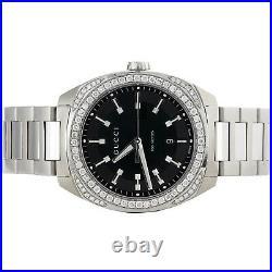 Mens New YA142301 Gucci GC2570 Genuine Diamond Watch 40mm Black Dial 1.82 CT
