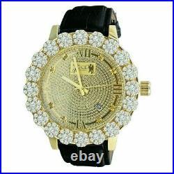 Mens Real Diamond Khronos Watch Flower Bezel 14K White Gold Finish Analog WithDate