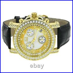 Mens Real Diamond Solitaire Dial Gold Tone Leather Band Ice House Watch With Date