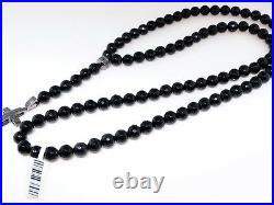 Mens Rosary Genuine Black Diamond Necklace Chain Black Onyx 32 Diamond Cross
