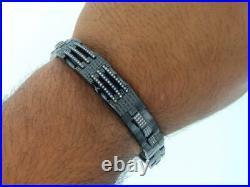 Mens Stainless Steel Genuine Black/White Diamond Bracelet Bangle Link 2.25 CT