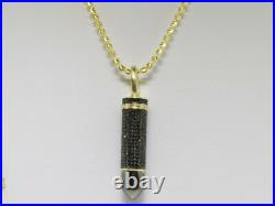 Mens Yellow Gold Finish Genuine Black Diamond Bullet Pendant Charm 1.8 Ct