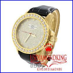 Mens Yellow Gold Finish Khronos Jojino Joe Rodeo. 12 Genuine Diamond Wrist Watch