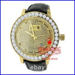 Mens Yellow Gold Finish Watch Steel Back Real Diamond Custom Bezel Leather Band