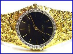 Mens vtg Gruen 20 Real Diamonds Gold Plated Nugget Style Black Face dress watch