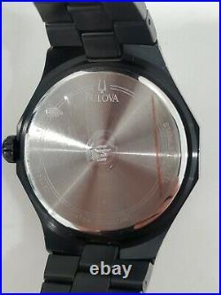 Mint BULOVA 98E110 BLACK and Silver 43MM MEN'S REAL DIAMONDS WATCH $650
