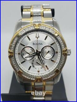 Mint BULOVA REAL DIAMONDS TWO TONE MEN'S WATCH 42MM 98E112