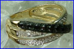 NEW Genuine Solid White Gold Natural Black Clear Diamond Eternity Ring Siz L & M