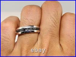 New Mens 10 Stone White Gold Finish Band 7 MM Black Genuine Diamond Ring 1.03 Ct
