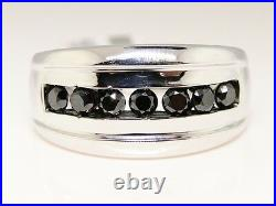 New Mens 7 Stone White Gold Finish Band 12 Mm Black Genuine Diamond Ring 1.03 Ct
