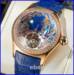 New Reef Tiger Tourbillon 3D Luxury Diamond Genuine Leather Strap Women's Watch