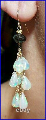 PAIR 7ct GENUINE BLACK DIAMOND 7ct Ethiopian OPAL DANGLE DROP 14K GOLD EARRINGS