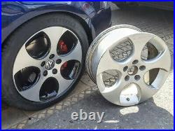 R115DCB Swap VW GOLF MK5 GTI 4x 17 GENUINE MONZA BLACK DIAMOND CUT ALLOY WHEELS