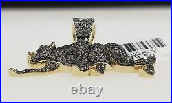 Real 10K Yellow Gold Genuine Black Diamond Panther Running Jumping Pendant Charm
