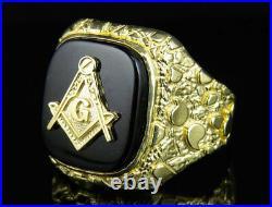Real 10K Yellow Gold Men's Masonic Logo Black Oynex Nugget Shank Designer Ring